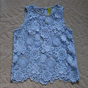 GIANNI BINI Laced tank top (Baby Blue)